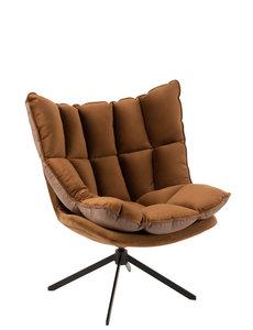 Duverger® Cosy lounge - Fauteuil - bruin - geruit kussen - zwart metalen spider voet