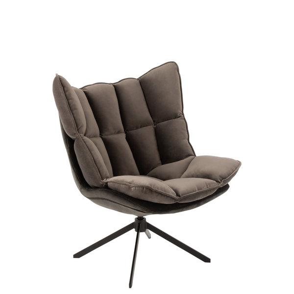 Duverger® Cosy lounge - Fauteuil - grijs - geruit kussen - zwart metalen spider voet