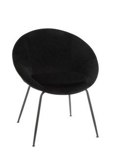 Duverger® Rond black - Fauteuil  - textiel - rond - metalen poten