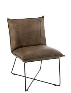Duverger® Taupe lounge - Fauteuil - kunstleer - taupe -  zwart ijzer frame