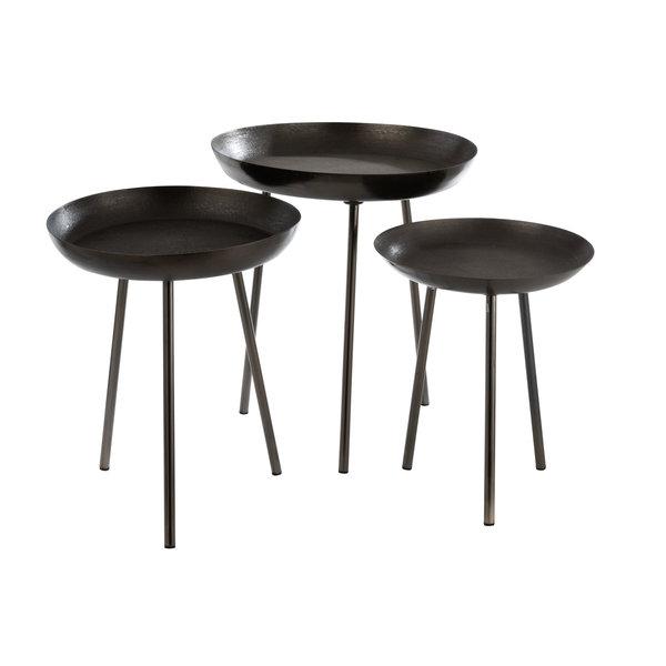 Duverger® Round Plateau - bijzettafel - set van 3 - metaal - donker grijs