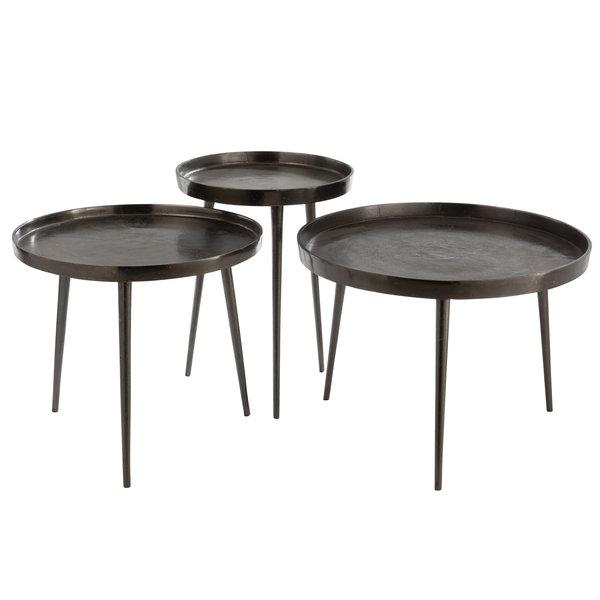 Duverger® Queen - Bijzettafels - set van 3 - plateau - metaal - donker grijs