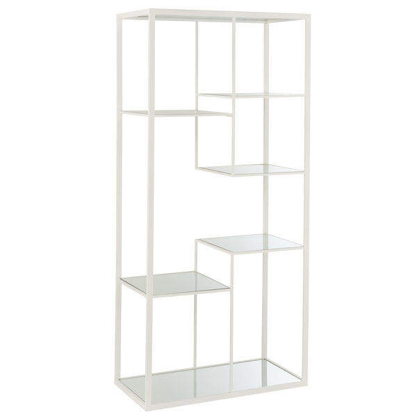 Duverger® Criss-cross - rek - 5 glazen legplanken - metalen frame - wit