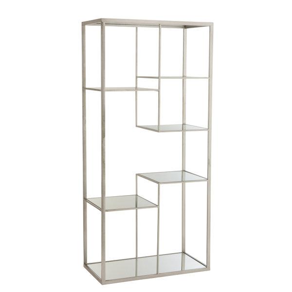 Duverger® Criss-cross - rek - 5 glazen legplanken - metalen frame - zilver