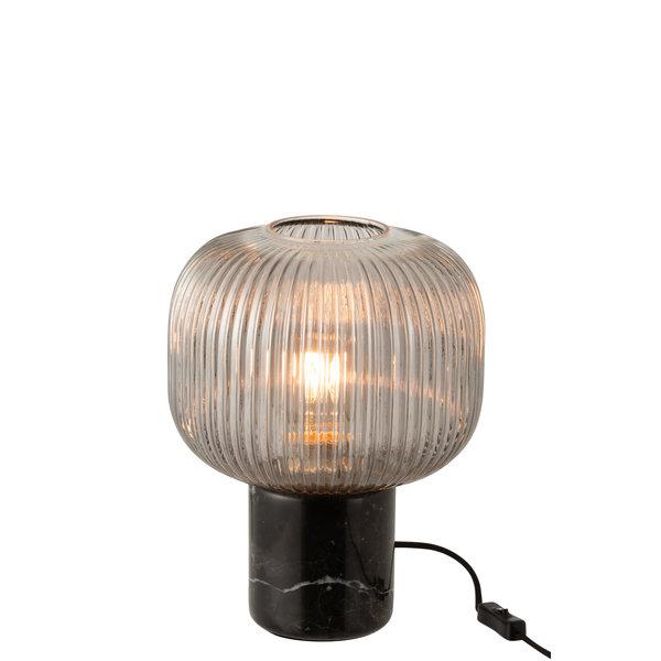 Duverger® Little round one - Tafellamp - gefumeerd glas - marmeren voet