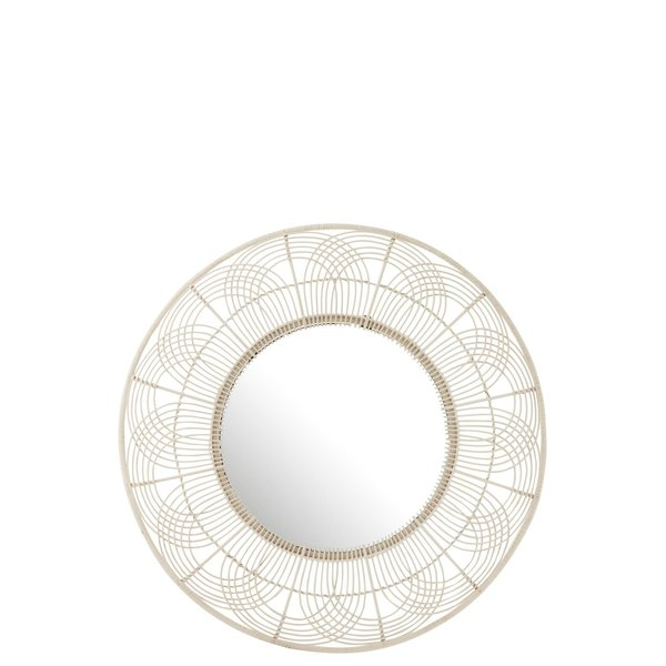 Duverger® Mirror on the wall - Spiegel - rond - wit - bamboe