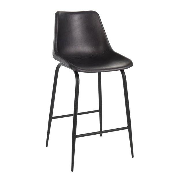 Duverger® High chair - Barstoel - set van 2 - zwart - leder - metaal