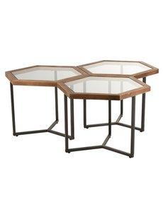 Duverger® Honeycomb - Bijzettafels - set van 3 - hexagonaal - glas blad - houten rand - metalen frame