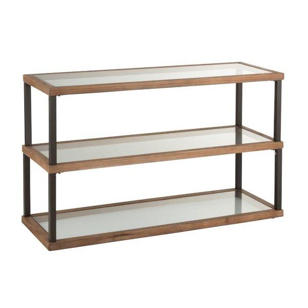 Duverger® Honeycomb - sidetable - glas blad - houten rand - metalen frame