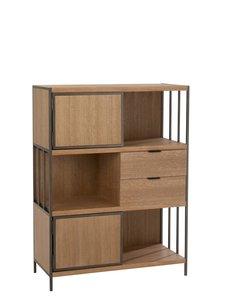 Duverger® Just Scandinavian - Living opbergmeubel - MDF - eik fineer - 2deuren - 2 lades - metalen frame