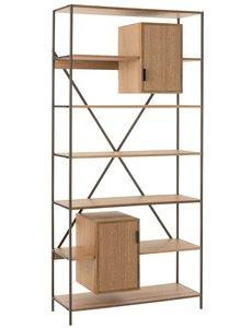 Duverger® Just Scandinavian - Living rek - MDF - eik fineer - 7 leggers - 2 deuren - metalen frame