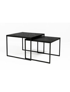 Duverger® Herringbone - Salontafels large - set van 2 - zwart - visgraat parket - metalen frame