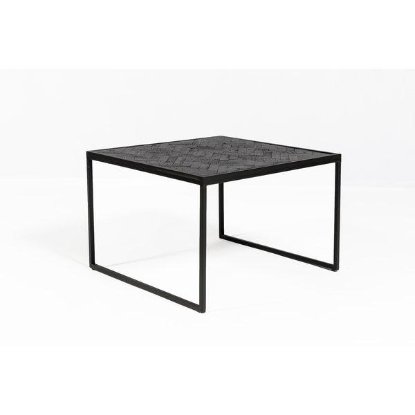 Duverger® Herringbone - Bijzettafel - zwart - visgraat parket - metalen frame