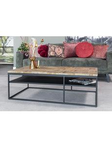 Duverger® Checked - Salontafel - greywash grijs - geblokt parket - zwart stalen frame
