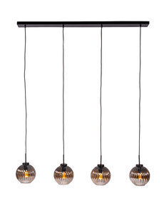 Duverger® Smoked vintage - Hanglamp - 4-lichts - gerookt glas - geribbeld - bolvormig