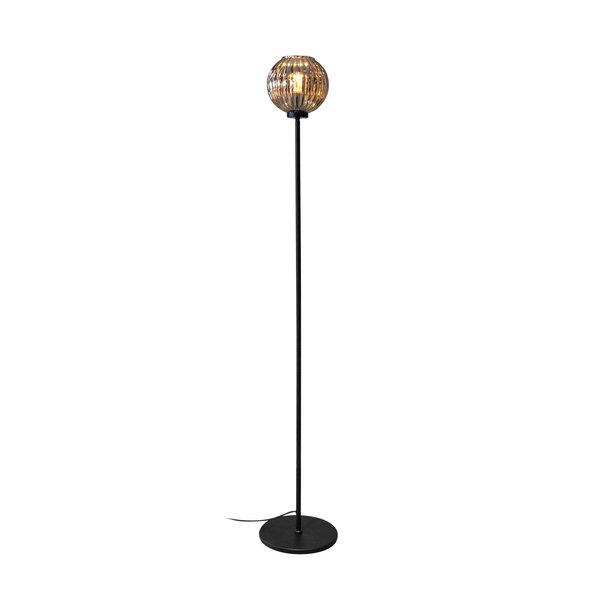 Duverger® Smoked vintage - Vloerlamp - 1-lichts - gerookt glas - geribbeld - bolvormig