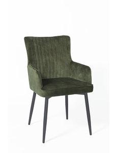 Duverger® Stripes Velvet - Eetkamerstoelen - set van 2 - armleuningen - fluweel - groen - gestreept rugstiksel - handvat