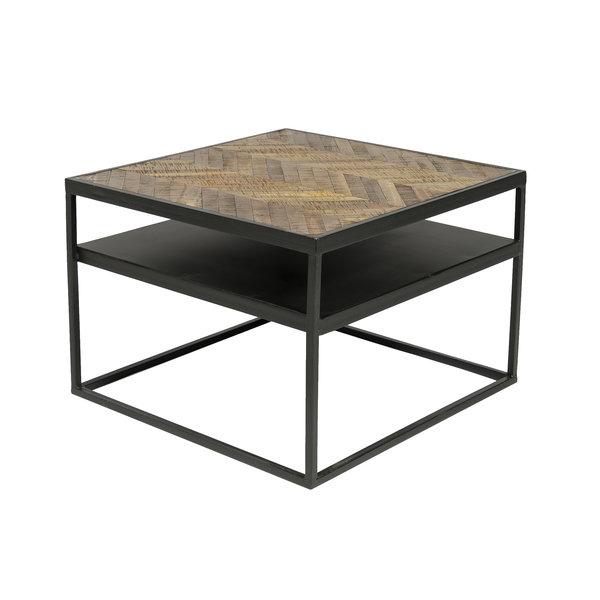 Duverger® Herringbone - Bijzettafel - Havana bruin - visgraat parket - zwart stalen frame