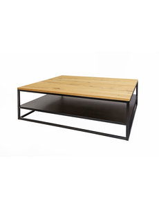 Duverger® Industry oak - Salontafel - eiken blad - naturel gebeitst - stalen legplank - vierkant - 110x110