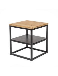 Duverger® Industry oak - Nachtkastje - eiken blad - naturel gebeitst - stalen legplank - vierkant - 40x40
