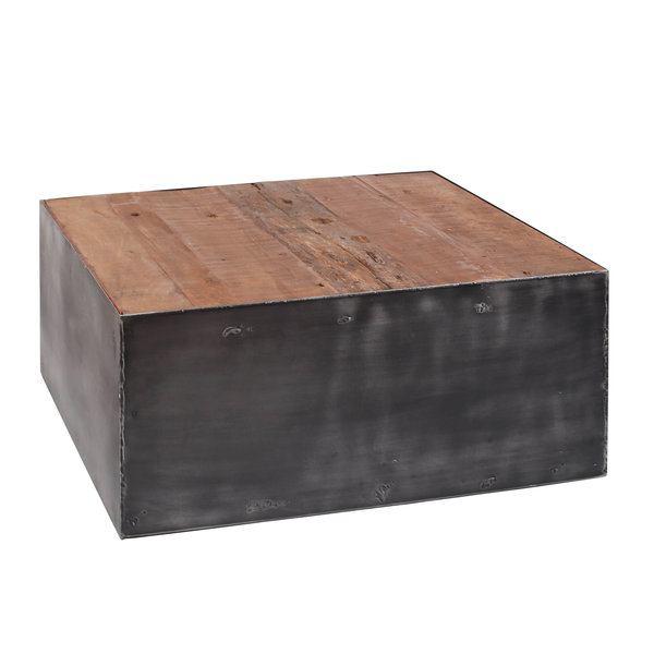 Duverger® Ruf Industry - Salontafel - vierkant - 80x80cm - robuust hardhout - metalen omkasting