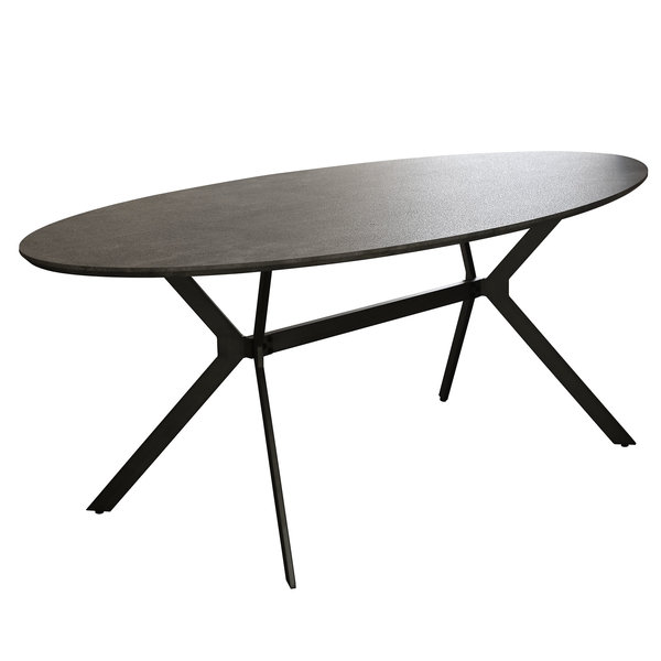 Duverger® Trendy - Eettafel - ovaal -L240cm - MDF - 3D print - betonlook grijs