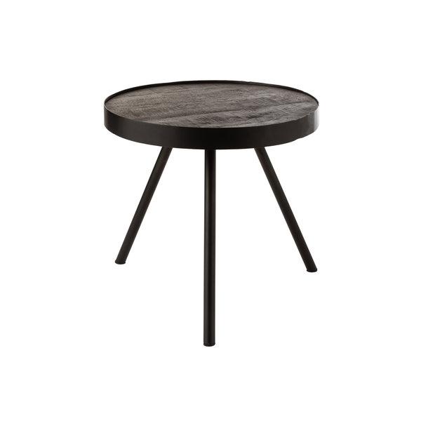 Duverger® Ruf Industry - Salontafel - rond - dia 46cm - mango hout - antraciet - metalen ring