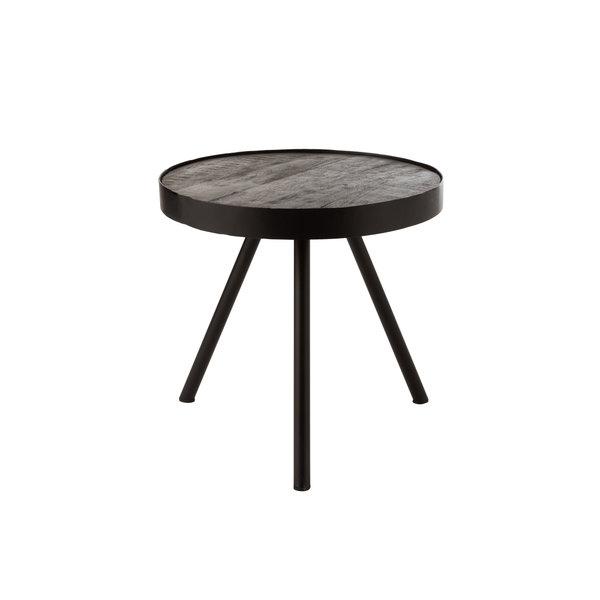 Duverger® Ruf Industry - Salontafel - rond - dia 50cm - mango hout - antraciet - metalen ring