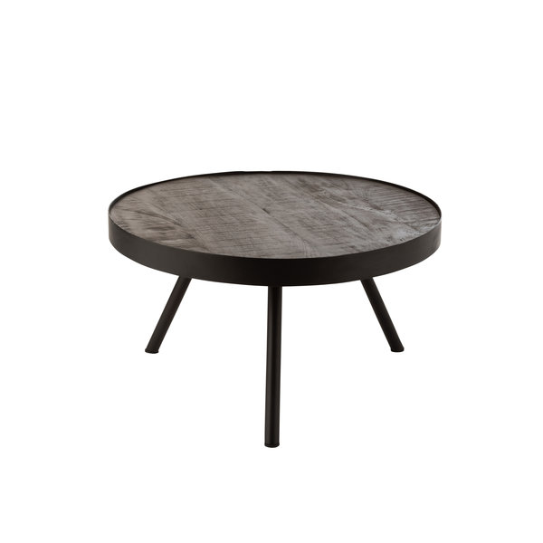 Duverger® Ruf Industry - Salontafel - rond - dia 60cm - mango hout - antraciet - metalen ring