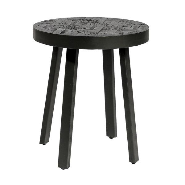 Duverger® Herringbone -Salontafel - rond - dia 45cm - zwart - visgraat parket - metalen frame