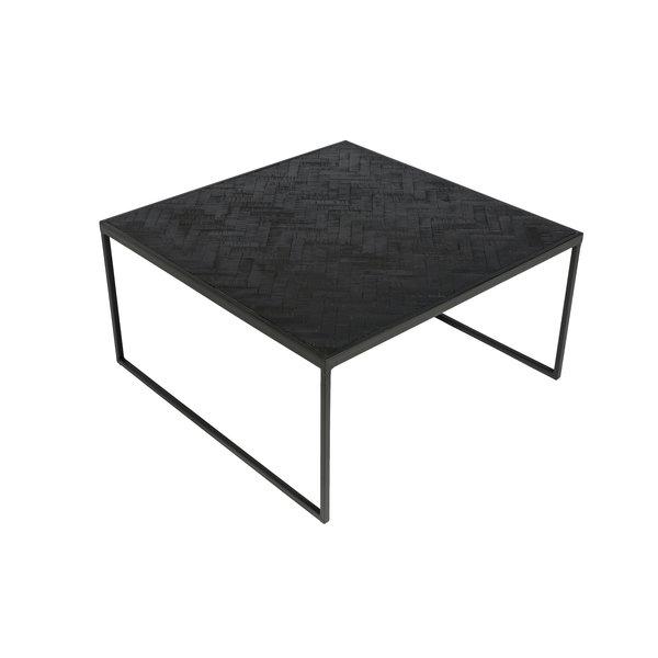 Duverger® Herringbone - Salontafel - vierkant - zwart - visgraat parket - metalen frame