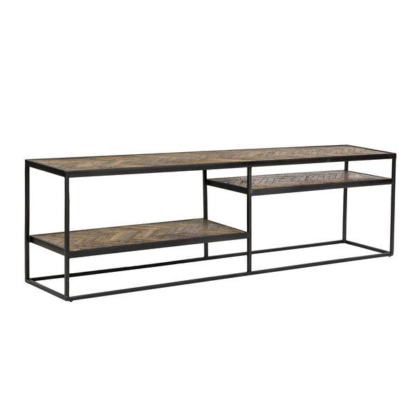 Duverger® Herringbone - TV-meubel - Havana bruin - visgraat parket - zwart stalen frame
