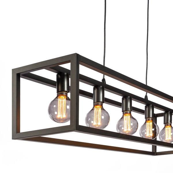 Duverger® Cage - Hanglamp - stalen frame - zwart - 5-lichts