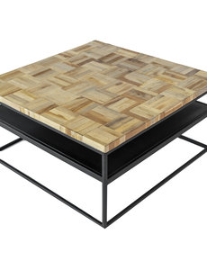 Duverger® Checked - Salontafel - vierkant - greywash grijs - geblokt parket - zwart stalen frame