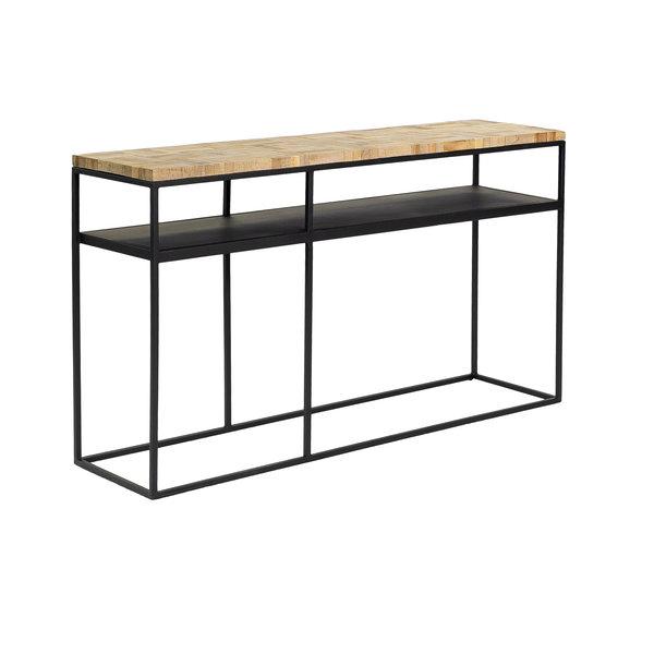 Duverger® Checked - Sidetable - greywash grijs - geblokt parket - zwart stalen frame