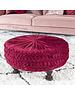 Duverger® Pleated - Poef - rond - rood - geplisseerde stof - dia 60cm - houten pootjes