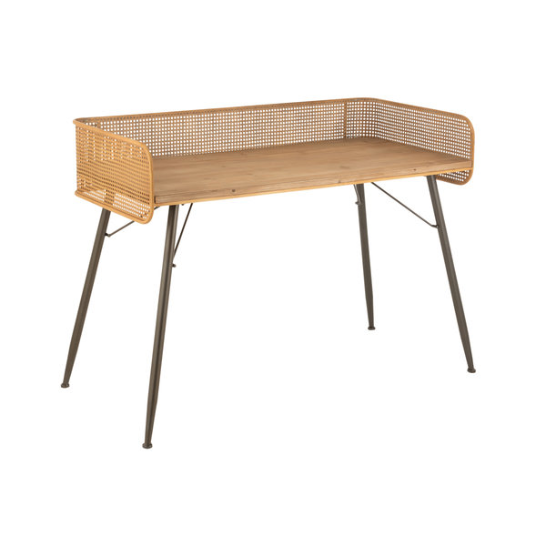 Duverger® Nostalgic grid - Schrijftafel - houten blad - metalen raster - beige - metalen poten - zwart