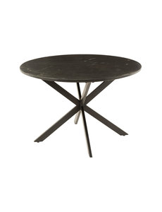 Duverger® Marble - Eettafel - rond 120cm - marmer - zwart - unieke schakering - spider poot - zwart staal