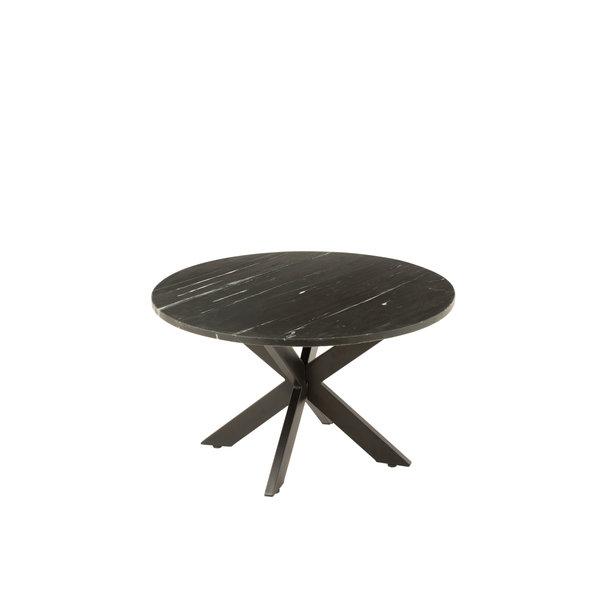 Duverger® Marble - Salontafel - rond 80cm - marmer - zwart - unieke schakering - spider poot - zwart staal