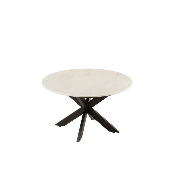 Duverger® Marble - Salontafel - rond 80cm - marmer - wit - unieke schakering - spider poot - zwart staal