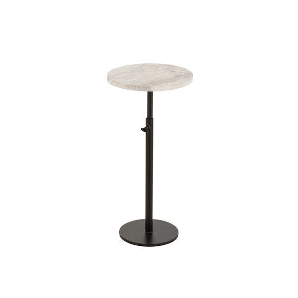 Duverger® Marble - Bijzettafel - rond 28cm - marmer - wit - unieke schakering - verstelbare poot - zwart staal