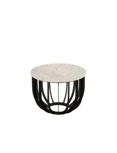 Duverger® Marble - Bijzettafel - rond 50cm - marmer - wit - unieke schakering - frame - zwart staal