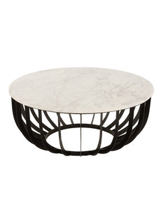 Duverger® Marble - Salontafel - rond 90cm - marmer - wit - unieke schakering - frame - zwart staal