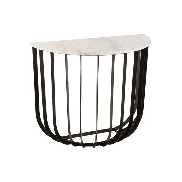 Duverger® Marble - Sidetable - halfrond 92cm - marmer - wit - unieke schakering - frame - zwart staal