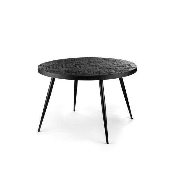 Duverger® Checked - Eettafel - rond - dia 120cm - zwart - teak - geblokt parket - metalen frame