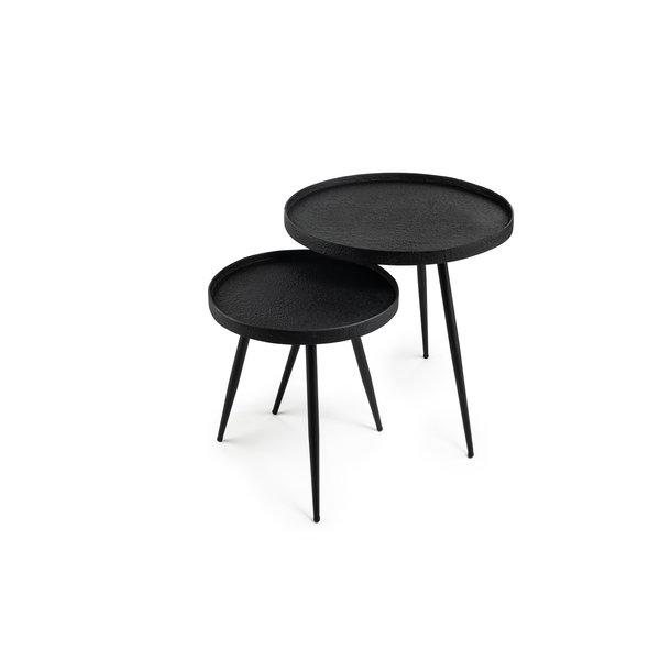 Duverger® Volcano - Salontafels - set van 2 - rond - lava metaal - zwart - driepikkel