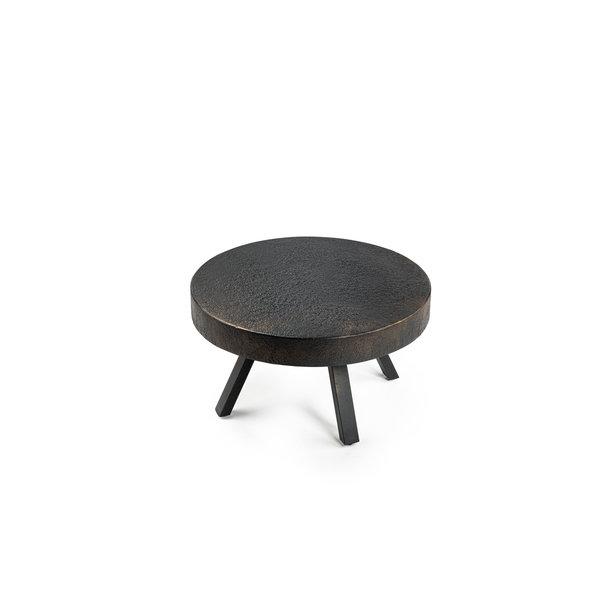 Duverger® Volcano - Salontafel - rond - dia 58cm - lava metaal - vintage zwart - 4 design poten staal
