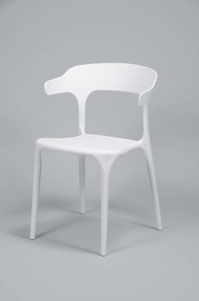 4 Witte Eetstoelen.Set 4 Stoelen Curved Kunststof Wit Duverger Home