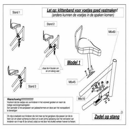 Buiszadel Zadel op Stang voor een Damesfiets met dubbel frame (Buiszadel)