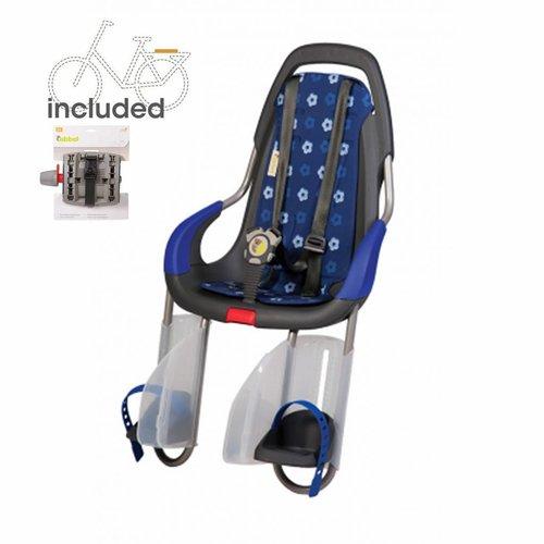 Qibbel achterzitje inclusief bevestigings materiaal voor bagagedrager Royal blue